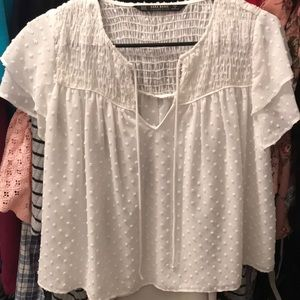 Zara Cropped Top White Airy
